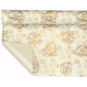 Csomagoló fólia virágmintás 1m x 25m fehér, arany