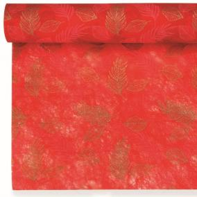 Csomagoló levélmintás vetex 0,5m x 9m piros, arany