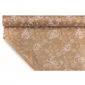 Csomagoló papír vízálló virágmintás 1m x 25m barna, fehér