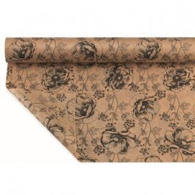 Csomagoló papír vízálló virágmintás 1m x 25m fekete, barna