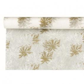 Csomagoló virágmintás vetex 0,5 m x 9m fehér, arany