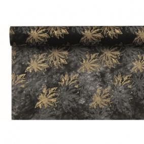 Csomagoló virágmintás vetex 0,5 m x 9m fekete, arany