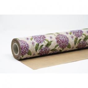Csomagolópapír vízálló hortenzia mintás papír 750mm x 25m kék