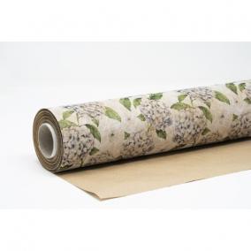 Csomagolópapír vízálló hortenzia mintás papír 750mm x 25m lila