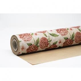 Csomagolópapír vízálló hortenzia mintás papír 750mm x 25m rózsaszín