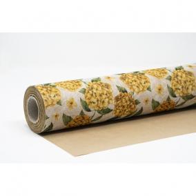 Csomagolópapír vízálló hortenzia mintás papír 750mm x 25m sárga