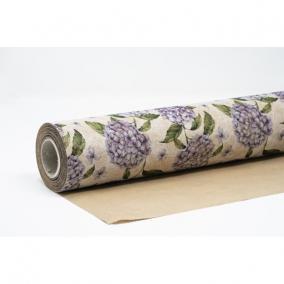 Csomagolópapír vízálló hortenzia mintás papír 750mm x 25m sötétlila