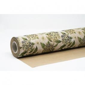 Csomagolópapír vízálló hortenzia mintás papír 750mm x 25m zöld