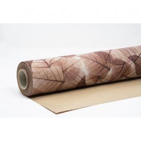 Csomagolópapír vízálló levél mintás papír 750mm x 25m bordó