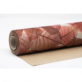 Csomagolópapír vízálló levél mintás papír 750mm x 25m piros