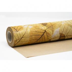 Csomagolópapír vízálló levél mintás papír 750mm x 25m sárga