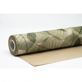 Csomagolópapír vízálló levél mintás papír 750mm x 25m zöld