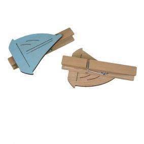 Csónak csipeszes fa 4,5cm kék [6 db]
