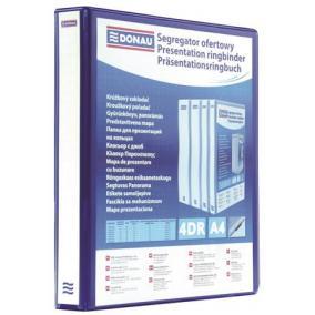 Gyűrűs könyv, panorámás, 4 gyűrű, D alakú, 40 mm, A4, PP, DONAU, kék