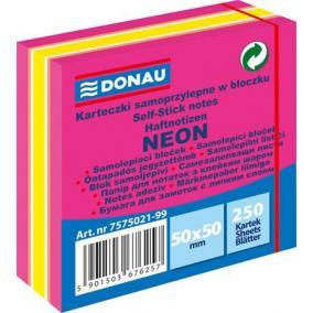 Öntapadó jegyzettömb, 50x50 mm, 250 lap, DONAU, neon rózsaszín [250 lap]