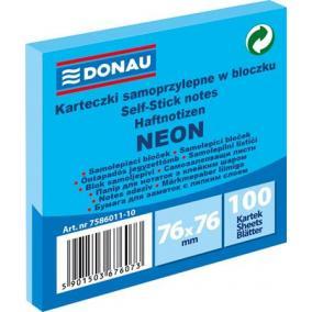 Öntapadó jegyzettömb, 76x76 mm, 100 lap, DONAU, neon kék [100 lap]