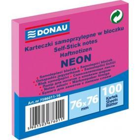 Öntapadó jegyzettömb, 76x76 mm, 100 lap, DONAU, neon rózsaszín [100 lap]