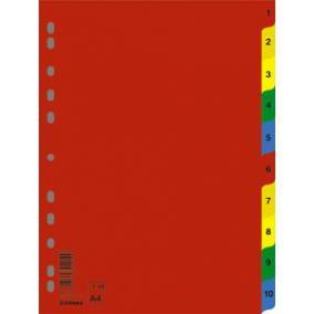 Regiszter, műanyag, A4, 1-10, DONAU, színes