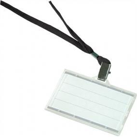 Azonosítókártya tartó, fekete nyakba akasztóval, 85x50 mm, műanyag, DONAU [50 db]