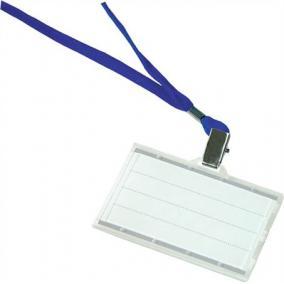 Azonosítókártya tartó, kék nyakba akasztóval, 85x50 mm, műanyag, DONAU [50 db]
