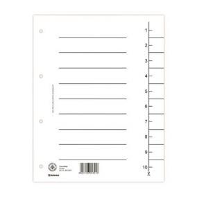 Regiszter, karton, A4, DONAU, fehér [100 db]