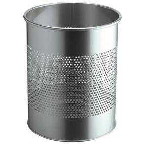 Papírkosár, fém, 15 liter, DURABLE, ezüst