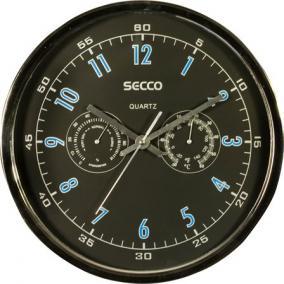 Falióra, 30 cm, páratartalom mérővel, hőmérővel SECCO, króm színű