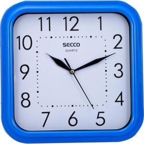 Falióra, négyzet alakú, 25,5x25,5cm, kék keretes, SECCO