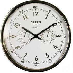 Falióra, 30 cm, páratartalom mérővel, hőmérővel,fehér számlap, SECCO, króm keret