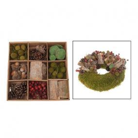 Dekor szárazvirág DIY 28x28x5cm zöld/natúr