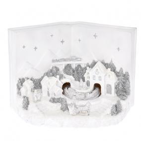 Dioráma könyv karácsonyi jelenettel, mozgó vonattal LEDes, elemes poly 28,5x15,8x20 cm fehér, ezüst