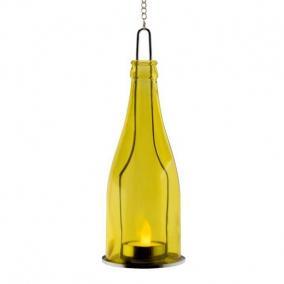 Díszüveg LED mécsessel sárga