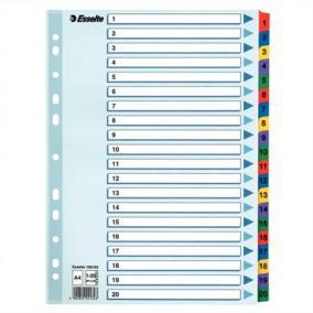 Regiszter, laminált karton, A4, 1-20, ESSELTE