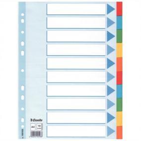 Regiszter, karton, A4, 10 részes, írható előlappal, ESSELTE