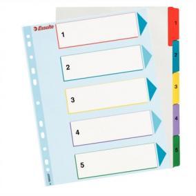 Regiszter, laminált karton, A4 maxi, 1-5, újraírható, ESSELTE