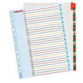 Regiszter, laminált karton, A4 Maxi, 1-31, újraírható, ESSELTE