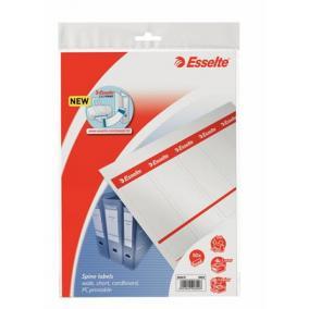 Cserecímke, Easyprint nyomtatható iratrendezőhöz, karton, 49x158 mm, ESSELTE, fehér [50 db]