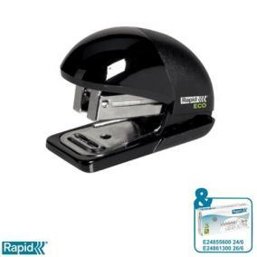 Tűzőgép, újrahasznosított, 24/6, 26/6, 10 lap, RAPID Eco Mini, fekete