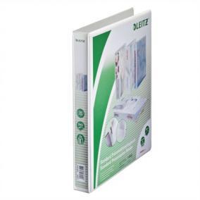 Gyűrűs könyv, panorámás, 2 gyűrű, D alakú, 44 mm, A4 Maxi, PP, LEITZ, fehér