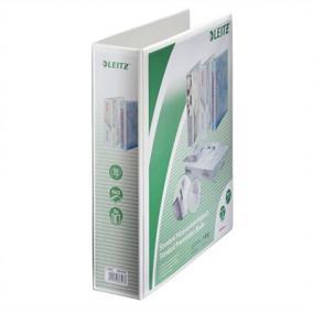 Gyűrűs könyv, panorámás, 4 gyűrű, D alakú, 77 mm, A4 Maxi, PP, LEITZ, fehér
