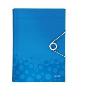 Harmonika mappa, A4, PP, 6 rekeszes, LEITZ Wow, kék