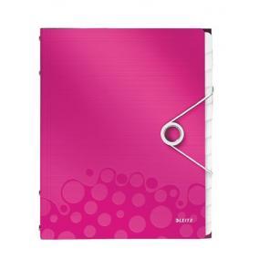 Előrendező, A4, 12 részes, műanyag, LEITZ Wow, rózsaszín