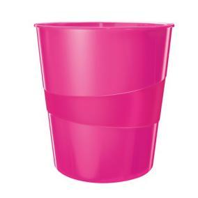 Papírkosár, 15 liter, LEITZ Wow, metál rózsaszín