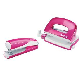 Tűzőgép és lyukasztó szett, 10 lap, fém, LEITZ Wow Mini, rózsaszín