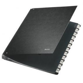 Előrendező, A4, 12 részes, karton, LEITZ, fekete