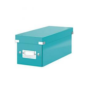 CD tároló doboz, lakkfényű, LEITZ Click&Store, jégkék