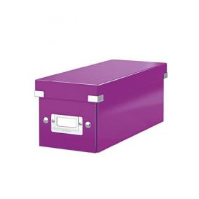 CD tároló doboz, lakkfényű, LEITZ Click&Store, lila