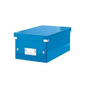 DVD tároló doboz, lakkfényű, LEITZ Click&Store, kék