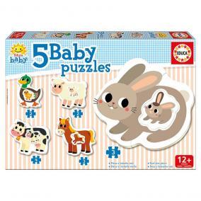 Educa Farmállatok 5 az 1-ben bébi puzzle, 2 x 2, 2 x 3, 1 x 4 darabos