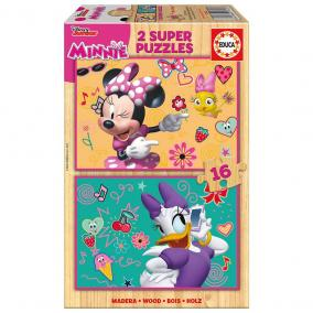 Educa Minnie egér boldog segítői fa puzzle, 2 x 16 darabos